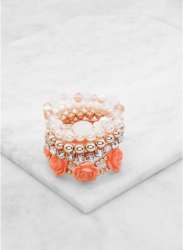 Assorted Beaded Stretch Bracelets Set,BLUSH,large