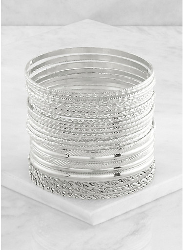 Plus Size 20 Textured Bangles,SILVER,large