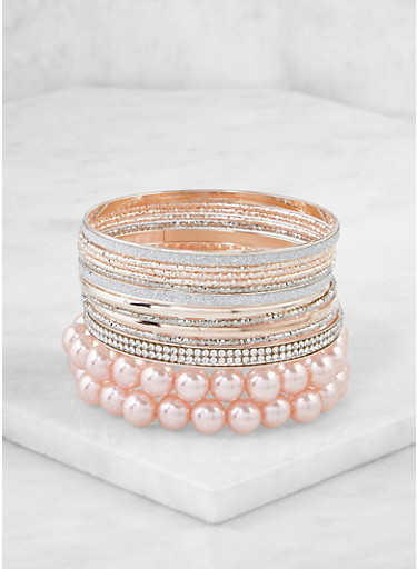 Assorted Metallic Faux Pearl Bracelets,PINK,large
