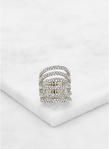 Tiered Rhinestone Stretch Ring,SILVER,large