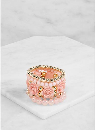 Set of 5 Assorted Beaded Stretch Bracelets,ROSE,large