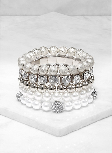 Assorted Faux Pearl Rhinestone Stretch Bracelets,SILVER,large