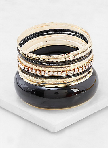 Metallic and Rhinestone Bangles Set,BLACK,large