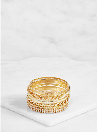 Plus Size Assorted Metallic Bangles Set,GOLD,large