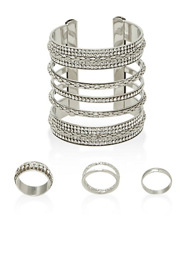 Rhinestone Cuff Bracelet with 3 Rings Set,SILVER,large
