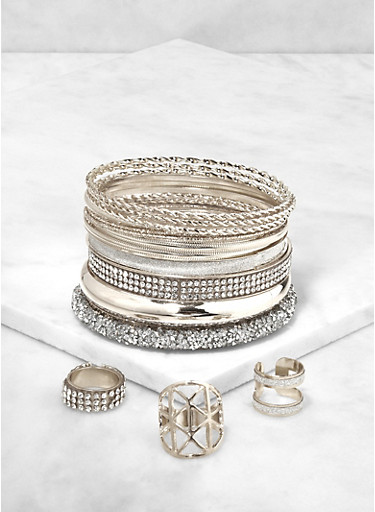 Rhinestone Encrusted Bangles and Rings,SILVER,large
