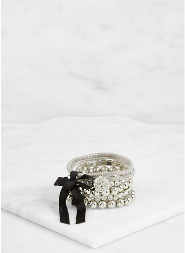 Metallic Beaded Stretch Bracelets,SILVER,large