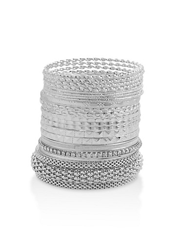 Multi Textured Metallic Bangles,SILVER,large
