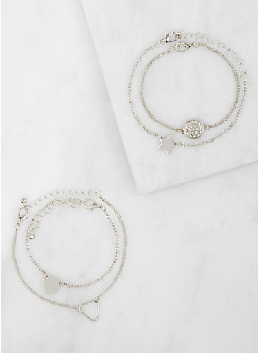 Set of 4 Metallic Bracelets,SILVER,large