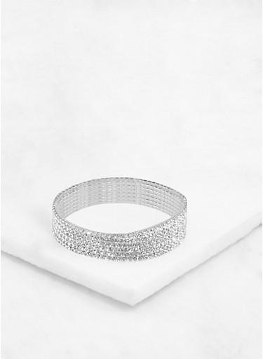 Rhinestone Stretch Bracelets,SILVER,large