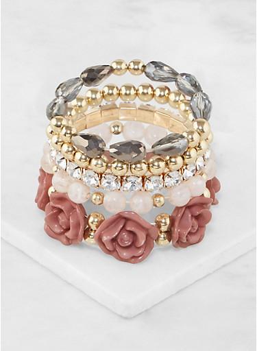 Flower Beaded Stretch Bracelets,MAUVE,large