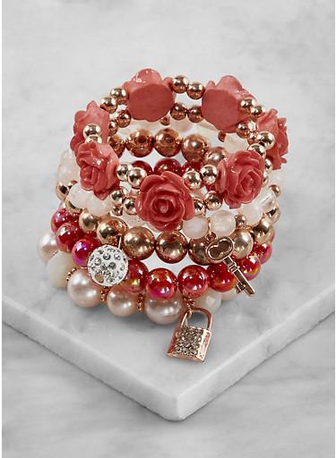 Beaded Charm Stretch Bracelets,ROSE,large