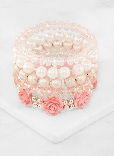 Faux Pearl Beaded Stretch Bracelets,ROSE,large