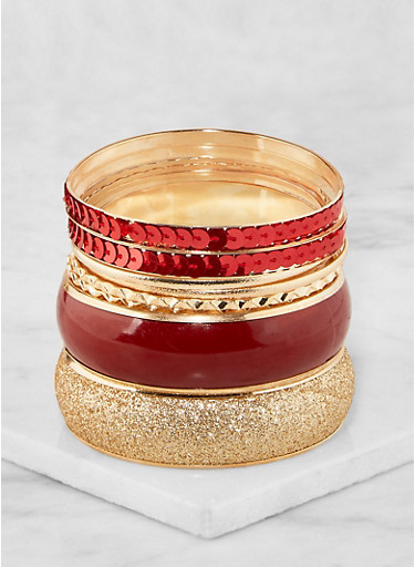 Plus Size Sequin Glitter Bangles,RED,large
