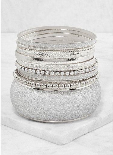 Plus Size Set of Glitter Metallic Bangles,SILVER,large