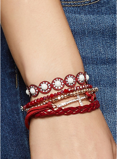 Set of 5 Assorted Bracelets,RED,large