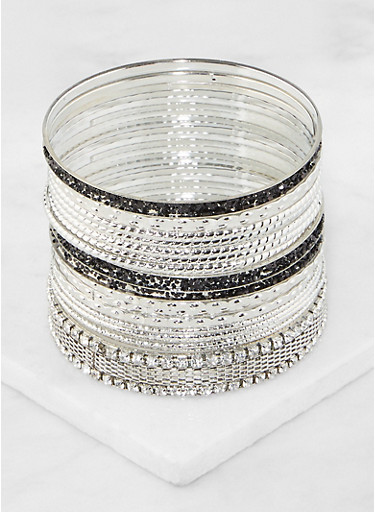 Plus Size Set of Assorted Metallic Bangles,SILVER,large