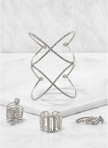 Rhinestone Cuff with Assorted Rings,SILVER,large