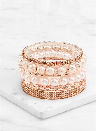 Assorted Set of Bangles and Stretch Bracelets,ROSE,large