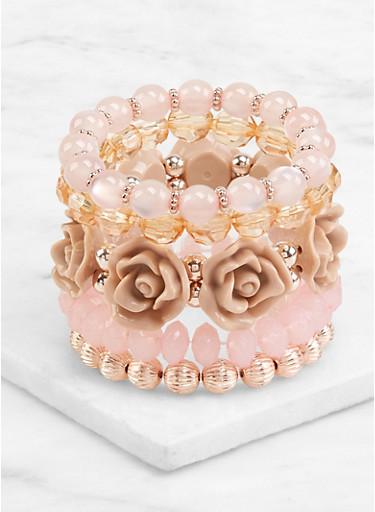 Flower Beaded Stretch Bracelets,IVORY,large