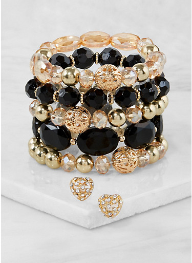 Set of 5 Beaded Stretch Bracelets with Stud Earrings,BLACK,large