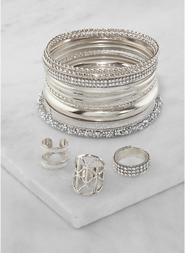 Plus Size Set of Assorted Bangles and Rings,SILVER,large