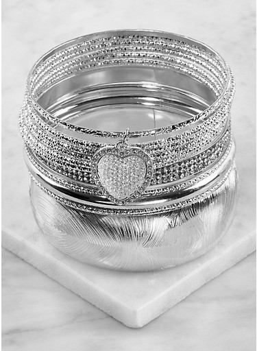 Plus Size Set of Assorted Bangles,SILVER,large