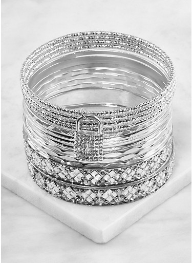 Plus Size Textured Metallic Bangles,SILVER,large
