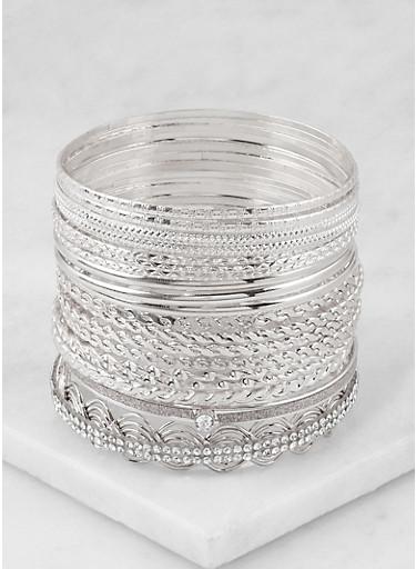 Plus Size Textured Metallic Bangles,SILVER,large