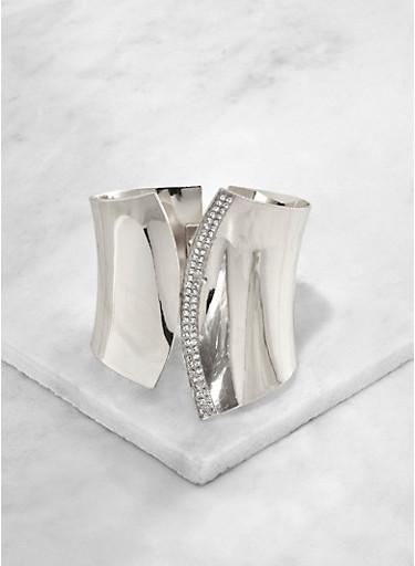 Rhinestone Trim Asymmetrical Cuff,SILVER,large