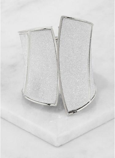 Metallic Glitter Cuff Bracelet,SILVER,large