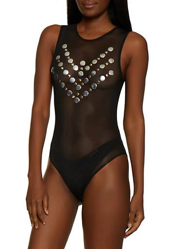 Studded Mesh Thong Bodysuit,BLACK,large