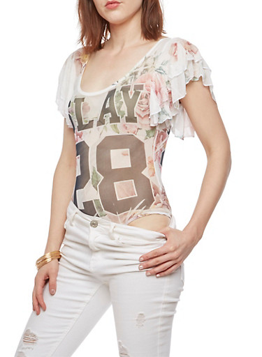 Slay 28 Graphic Floral Bodysuit,WHITE,large