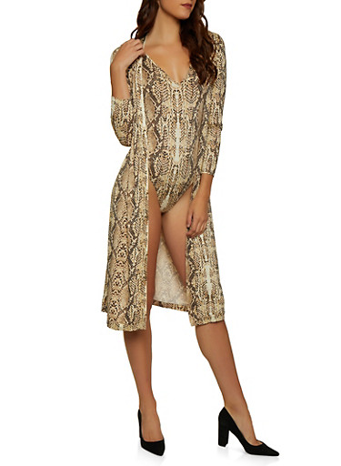 Snake Print Bodysuit with Attached Duster,BLACK,large