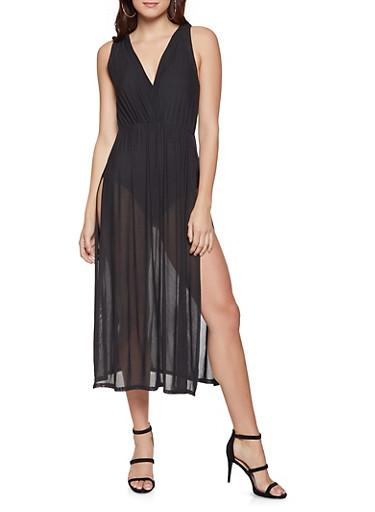 Mesh Overlay Bodysuit,BLACK,large