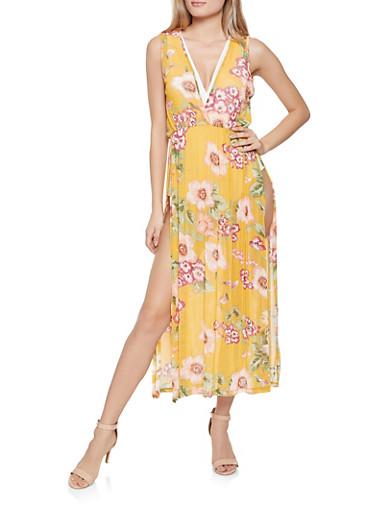 Floral Mesh Maxi Top,YELLOW,large