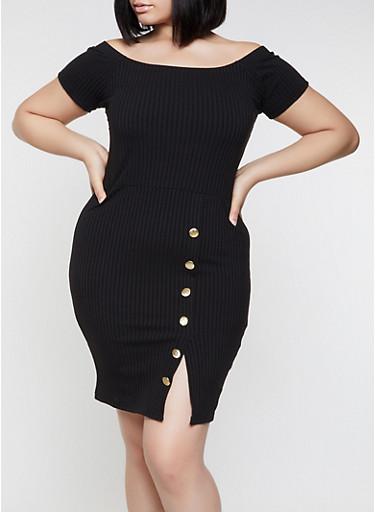 Plus Size Off the Shoulder Button Detail Dress,BLACK,large