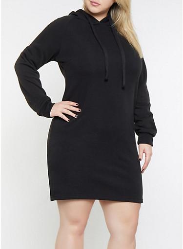 Plus Size Fleece Lined Sweatshirt Dress,BLACK,large