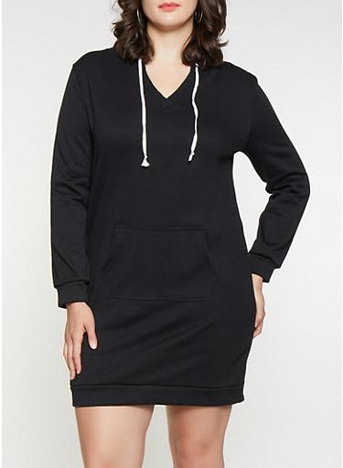 Plus Size Solid Sweatshirt Dress,BLACK,large