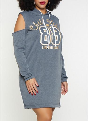 Plus Size Cold Shoulder Sweatshirt Dress,CHARCOAL,large