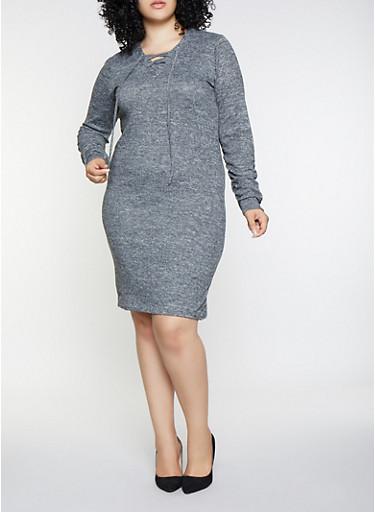Plus Size Lace Up Sweater Dress,CHARCOAL,large