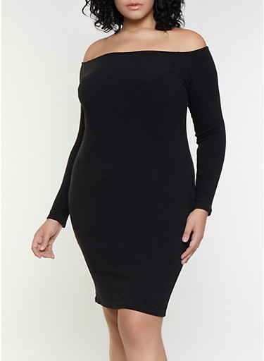 Plus Size Rib Knit Off the Shoulder Bodycon Dress,BLACK,large