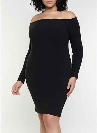 Plus Size Rib Knit Off the Shoulder Bodycon Dress