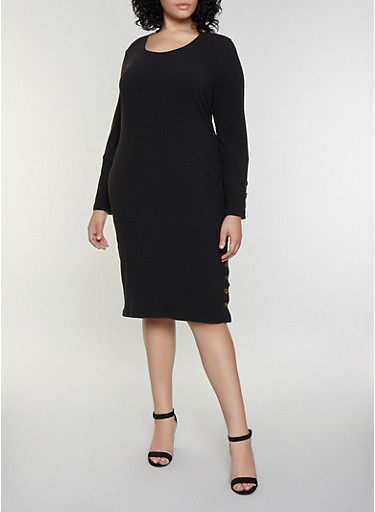 Plus Size Rib Knit Button Bodycon Dress,BLACK,large