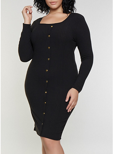 Plus Size Square Neck Button Dress,BLACK,large