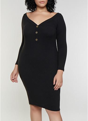 Plus Size Off the Shoulder Button Dress,BLACK,large