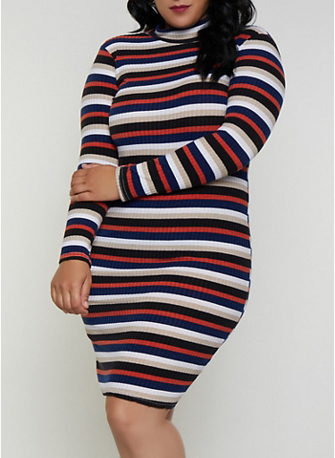Plus Size Striped Mock Neck Dress,BLACK,large