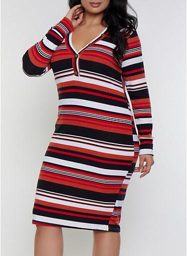 Plus Size Button Striped Dress,WHITE,large