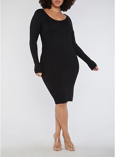 Plus Size Long Sleeve Ribbed Knit Midi Dress,BLACK,large