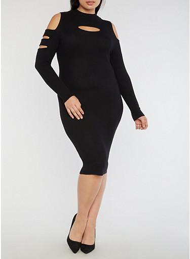 Plus Size Slit Ribbed Knit Cold Shoulder Dress,BLACK,large
